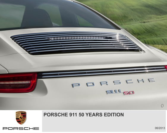 Porsche 911 50 Yeras Edition badging