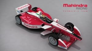 The new car livery for the Mahindra Racing Formula E Team