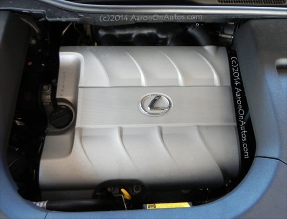 2014-LexusRX350 F-Sport engine cover closeup AOA1200px