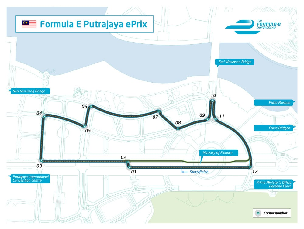 1. The layout for the first ever Formula E Putrajaya ePrix in Malaysia