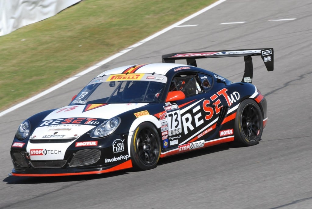 2014- World Challenge- Barber- No 73 GTSport Porsche Cayman S- Jack Baldwin Racing to GTS victory