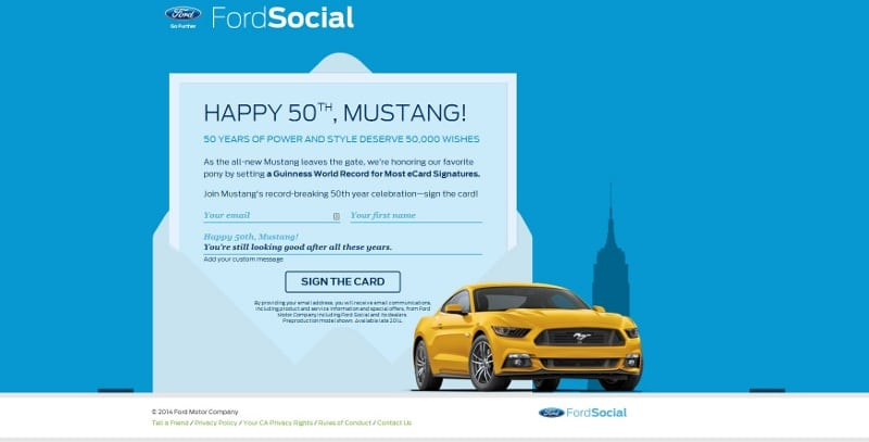 ford mustang birthday card