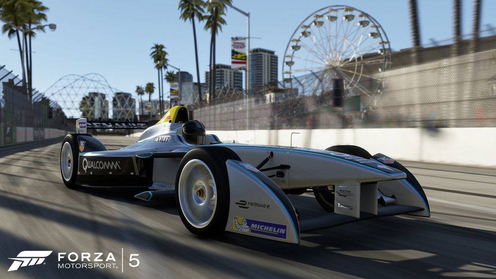 Screen shots of the Formula E car in the Forza Motorsport 5 video game.