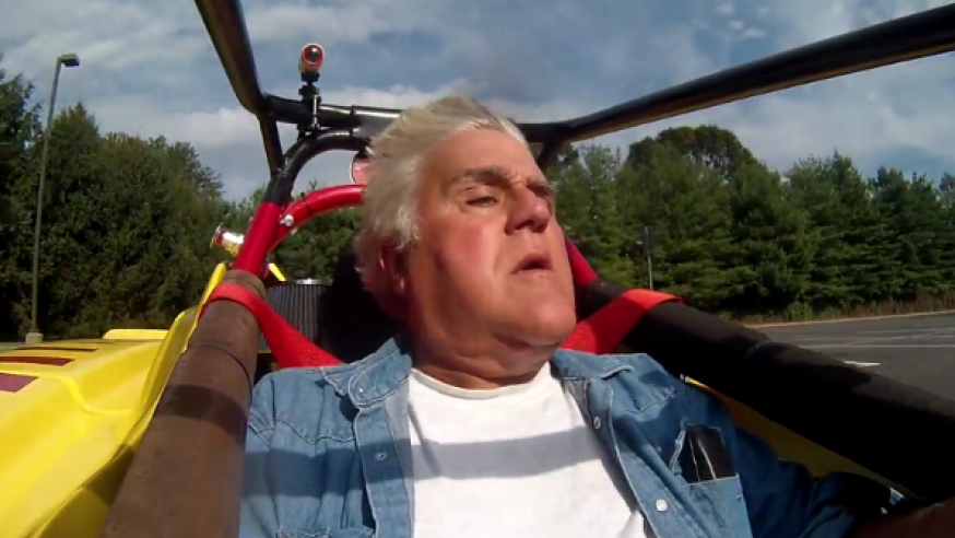Jay Leno drives an Electric Race Car (VIDEO)