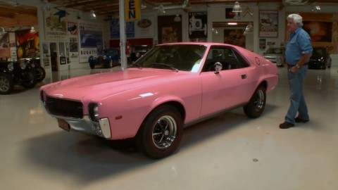 Leno Drives the Playmate of the Year, 1968 AMC AMX in pink