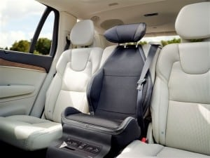 Comfort upholstery and head support for the integrated booster cushion available to the XC90