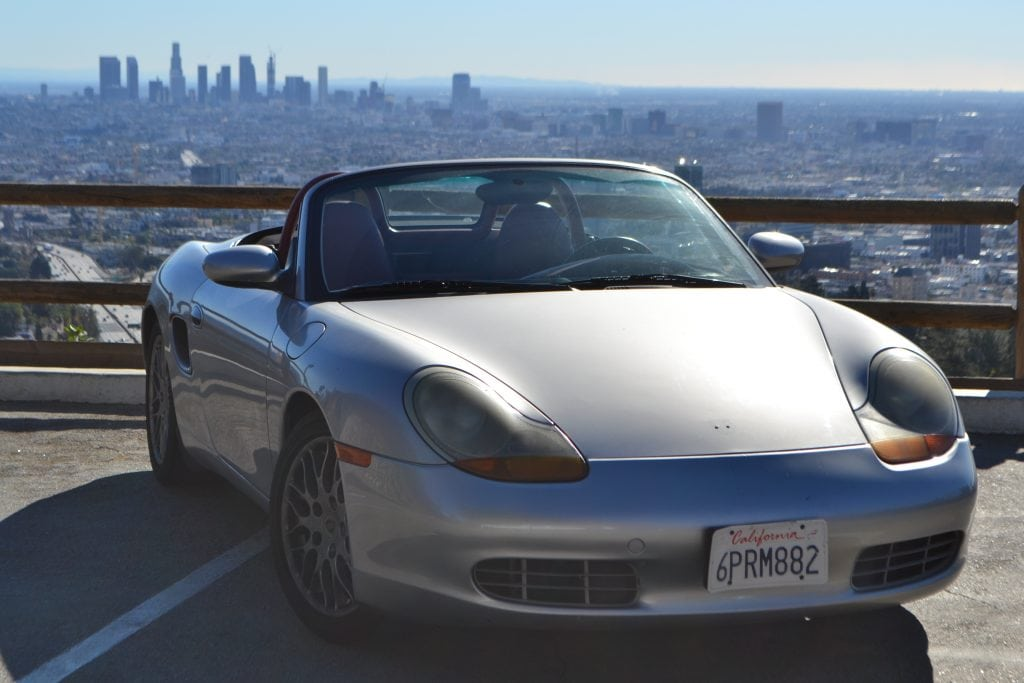 The badgeless 986 Boxster overlooking Downtown LA from Mullholand Drive